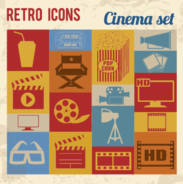 retro cinema flat vector icons