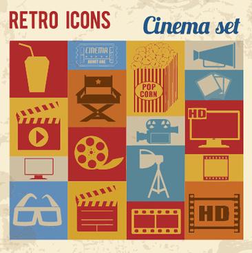 retro cinema flat vector icons