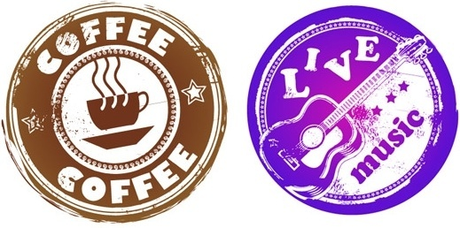retro coffee and music theme circular pattern vector