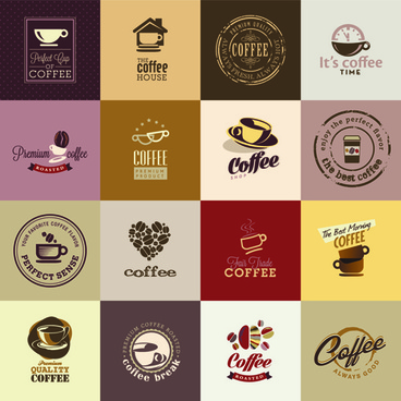 retro coffee logos creative design vector