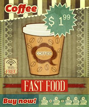 retro coffee poster vector