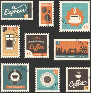 retro coffee stamps template vector