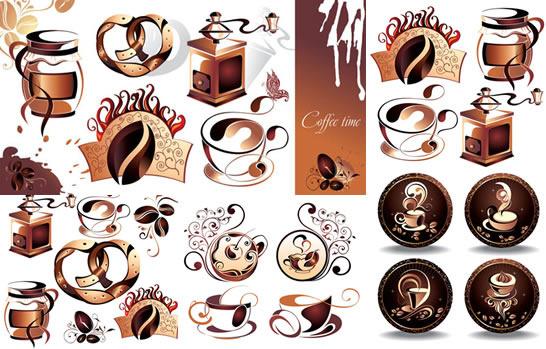 retro coffee style vector set