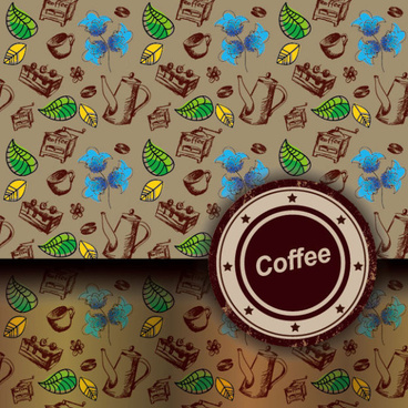 retro coffee template and coffee labels vector