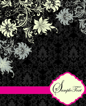 retro dark floral backgrounds vector