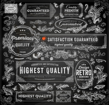 retro dark frames and ornament elements vector