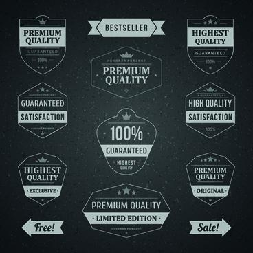 retro dark sale labels vector