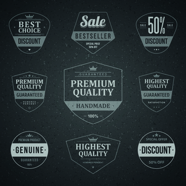 retro dark sale labels vector