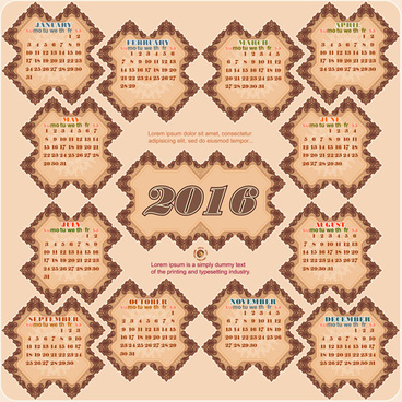 retro decor frame calendar16 vintage vector