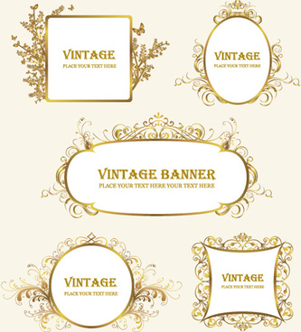 retro decor frames design vector