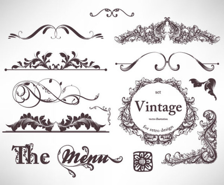 retro decorative ornaments frames and borders vector