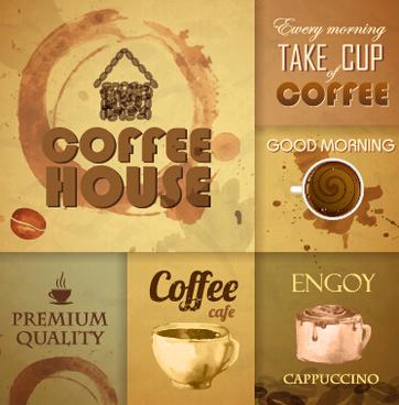 retro design coffee menu cover vector