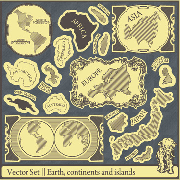 retro earthcontinents and islands labels vector
