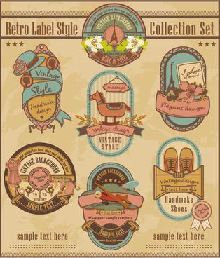 retro elements cartoon label vector set