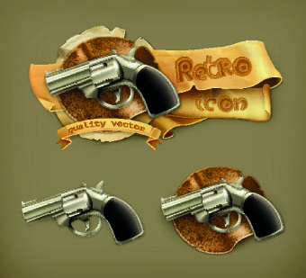 retro elements icons vector