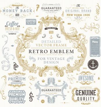 retro elements ornaments and labels creative vector