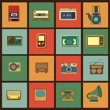 retro equipment sets isolated on flat design