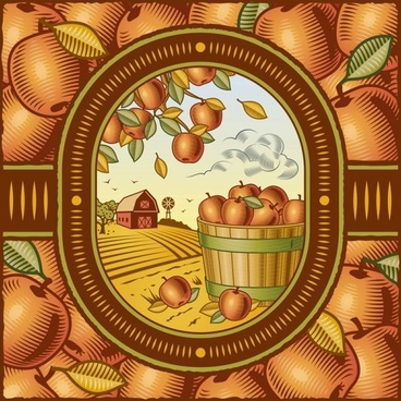 retro farm harvest 01 vector