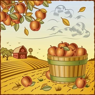 retro farm harvest 03 vector
