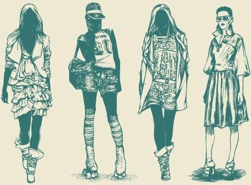 retro fashion model 02 vector