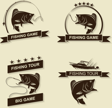 retro fishing labels design vector