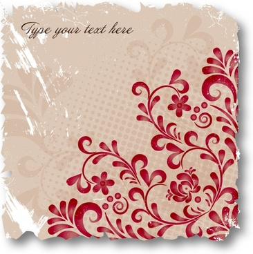 floral card background template flat retro grunge decor
