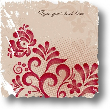 flower card background template grunge vintage handdrawn sketch