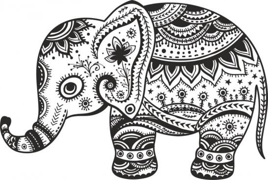 retro floral elephant free cdr vectors art