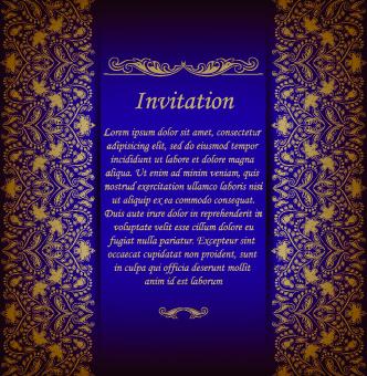 retro floral invitation vector