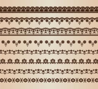 retro floral lines vector set