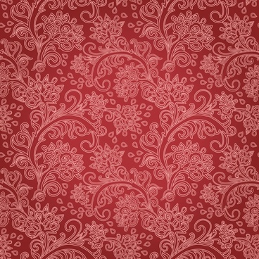 flower pattern classical flat sketch dark red decor