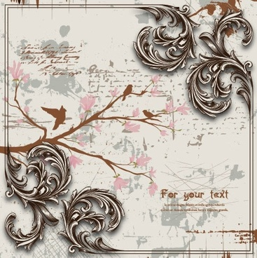 decorative background template retro european grunge birds branch
