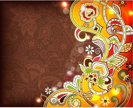 retro floral pattern vector line art