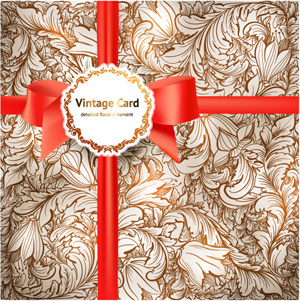 retro floral vector templates art set