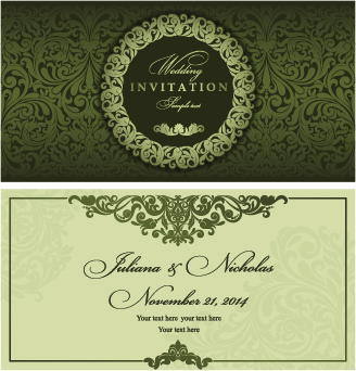 Wedding invitation vector free vector download 2756 free vector retro floral wedding invitation cards vector stopboris Images