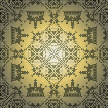 retro floral with crown vector seamless pattern