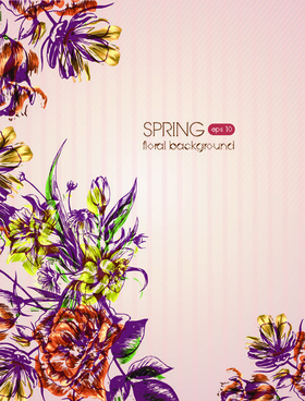 retro flower backgrounds art vector