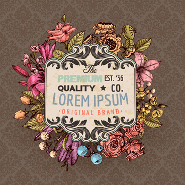 retro flower labels ornate vector set