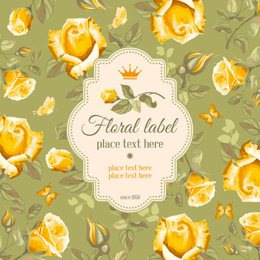 retro flower with vintage background vector