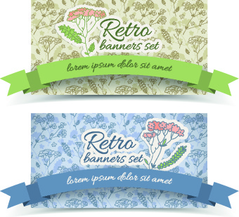 retro flowers cards vector set