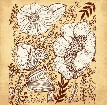 retro flowers hand drawing vector art