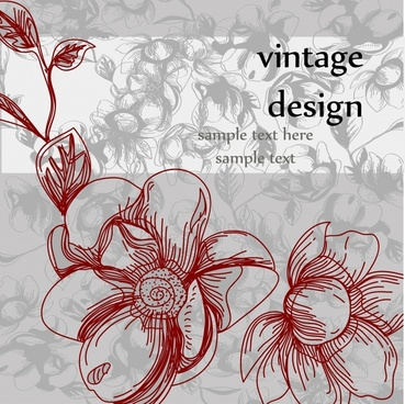 retro flowers vector line art