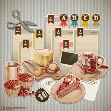 retro food elements message paper