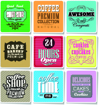retro food labels illustration vector