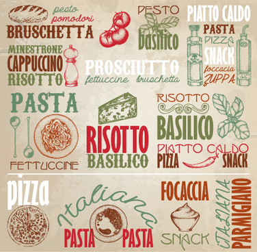 retro food with pizza logos elements vector
