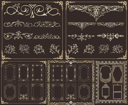 retro frame elements vector