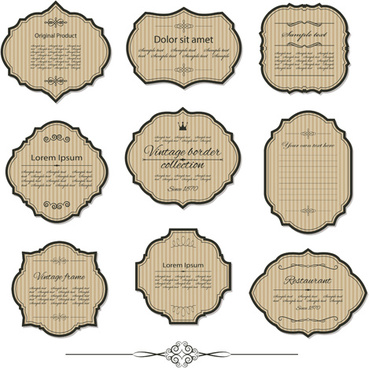 retro frame labels vector set