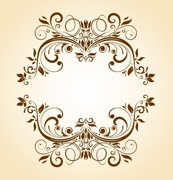 frame template vintage flat design symmetrical curves ornament