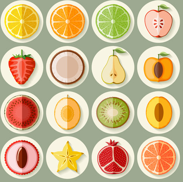 retro fruit icons design graphics vector