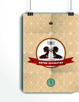 retro geometry advertising background vector